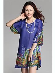 Women's Round Collar Pint 1/2 Length Sleeve Mini Dress(Random Prints)