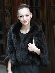 Half Sleeve Shawl Mink Fur And Fox Fur Collar Party/Casual Jacket(More Colors)