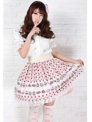 Saia Gótica / Doce / Lolita Clássica e Tradicional Princesa Cosplay Vestidos Lolita Rosa Estampado Sem Mangas Comprimento Médio Saia Para