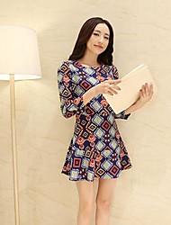Corea Sleevless Argyle Patrón de las mujeres adelgazan el vestido