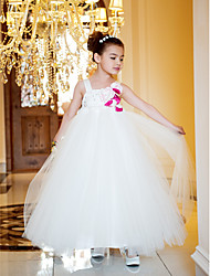 A-line / Princess Ankle-length Flower Girl Dress - Satin / Tulle Sleeveless Straps with Flower(s)