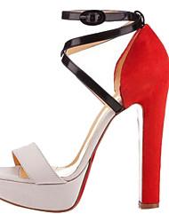 Chunky tacón sandalias de la plataforma zapatos de cuero de las mujeres (más colores)