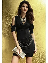 Women's Solid Black/Pink/White Dress , Sexy/Bodycon Deep V/Cowl ¾ Sleeve Ruched