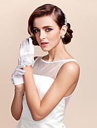 Wrist Length Fingertips Glove Satin Flower Girl Gloves Spring Fall Winter Bow