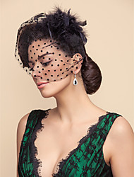 Tulle Dots Pattern  Wedding/Party Blusher Veils With Feathers(More Colors)
