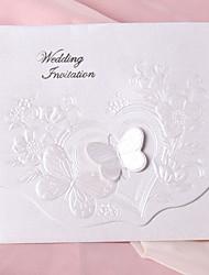 Perle papillon de papier d'invitation de mariage à trois volets - Lot de 50