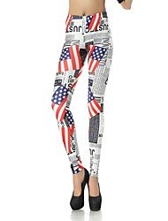 Elonbo Women's  Digital Printing Coloured Drawing or Pattern the Flag of the United States Style Tight Leggings