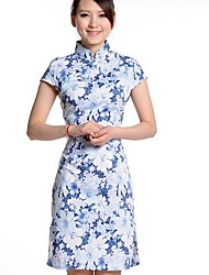 Women's Formal Vintage Plus Size Dress,Floral Stand Above Knee Sleeveless Silk Summer