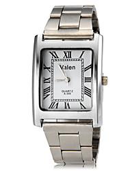 Men's Square Case Roman Numerals Silver Steel Band Quartz Wrist Watch (Assorted Colors)
