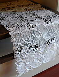 Cutworking Embroidery Lace Table Runner, Polyester