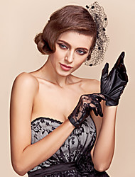 Wrist Length Fingertips Glove Lace/Faux Leather Party/ Evening Gloves