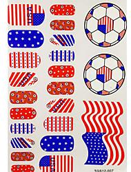 2PCS 20 USA World Cup Football Pattern Nail Art Stickers&3 Temporary Tattoo