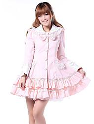 Coat Sweet Lolita Princess Cosplay Lolita Dress Pink Solid Long Sleeve Lolita Coat For Women Polyester