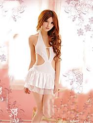 Ultra Hot Girl V profundo de poliéster blanco uniforme de enfermera