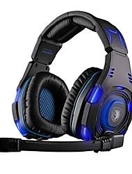 Sades headphone usb de jogos ao longo ouvido com microfone e controle remoto para pc-907 sa