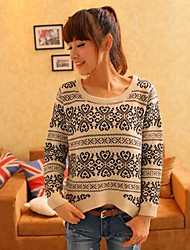 Women's Round Neck Korean Style Vintage Loose Fashion China Print Knitwear