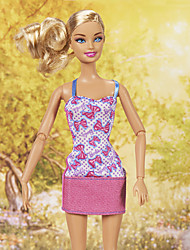 Barbie Doll Lovely Cute Bow Pattern Pink Slim Casual Dress