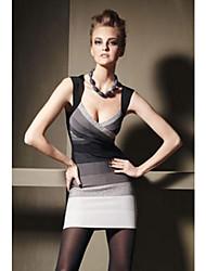 Women's Black Gray White Ombre Halter Bandage Sexy Dress