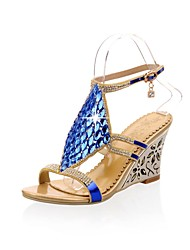 Sparkling Glitter Women's Wedge Heel Open Toe Sandals with Rhinestone Shoes(More Colors)