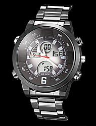 reloj de los hombres del estilo piloto multifuncional analógico-digital caso negro del cuarzo de la venda de acero (colores surtidos)