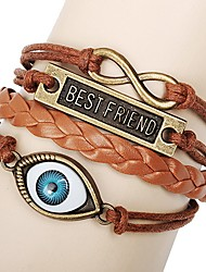 Shining Infinity Style Vintage  Handmade Leather Bracelet (Screen Color)