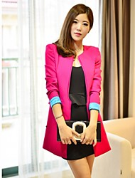 CHAOLIU Women's Korean Style Splicing Color Fitted Suit Coat(Black,Red)