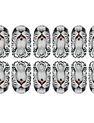 12PCS White Tiger Pattern Luminous Nail Art Stickers