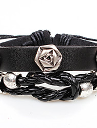 Qinuo Vintage Court Rose Rivet Leather Crochet Bracelet (Coffee,Black)