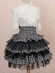 Saia Lolita Clássica e Tradicional Elegant Cosplay Vestidos Lolita Preto Rendas Lolita Comprimento Médio Saia Para Feminino Poliéster