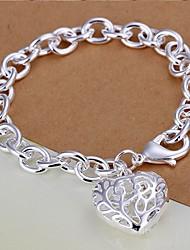 Meles 925 Silver Heart Shape Pendant Bracelet
