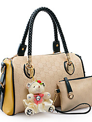 Ruili Women's Simple Beige Bear Hang Drop Portable Big PU Leather Tote With Crossbody