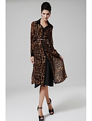 De las mujeres Recto Vestido Para Trabajo Leopardo Maxi Asimétrico Raso