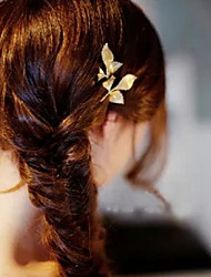Ethnic Leaf Shape Gold Alloy Hairpins For Women(Blue,Gold)(1 Pc)