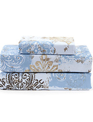 "Sheet Set,4-Piece Microfiber Retro Floral Blue with 12"" Pocket Depth"