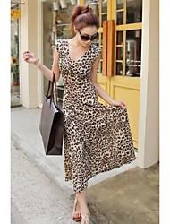De las mujeres Corte Swing Vestido Sexy Leopardo Maxi Escote en Pico Poliéster