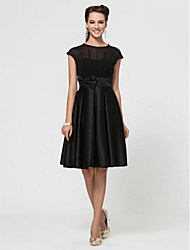LAN TING BRIDE Knee-length Jewel Bridesmaid Dress - Little Black Dress Short Sleeve Chiffon Satin