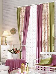 (Dos paneles) país elegante multicolor estampado de flores cortina de ahorro de energía