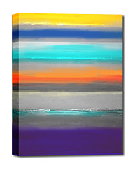 Hand Painted Oil Painting Abstract  Rainbow Bar with Stretched Frame