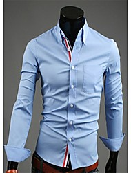 Men's Solid Casual Shirt,Polyester Long Sleeve Black / Blue / Red / White