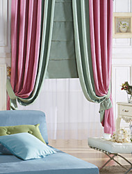 (Two Panels) Country Pure Solid Energy Saving Curtain