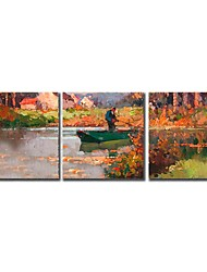 Hand Painted Oil Painting Landscape Fisherman Sailing Boat on The River with Stretched Frame Set of 3