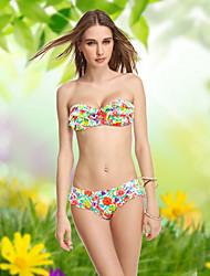Cópia floral das Malinsa-Victoria Mulheres Ruffle meia xícara com jantes de Bikini (Cor da tela)