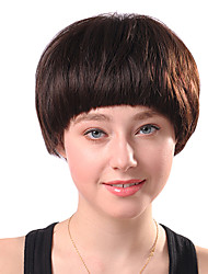 Capless Short Brown Curly Synthetic Fiber Wigs Full Bang