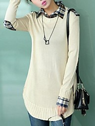Lady occasionnel lâche shirt col en tricot chandail
