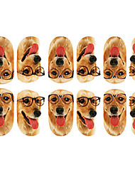 12PCS Lovely Dog with Glasses Pattern Luminous Nail Art Stickers