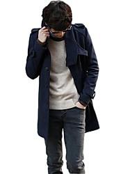 Men's Long Sleeve Long Coat , Wool Pure