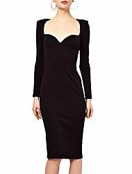 MS Мода черный Элегантный длинным рукавом платье