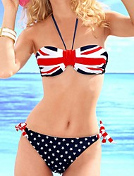 Rose Women's Union Jack Pattern Halter Bikini