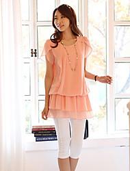 Women's Cute Dress Midi Short Sleeve Pink Summer