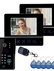 "7"" Video Door Phone DoorBell Intercom System Touch Panel Door Lock RFID Keyfobs 1V2"